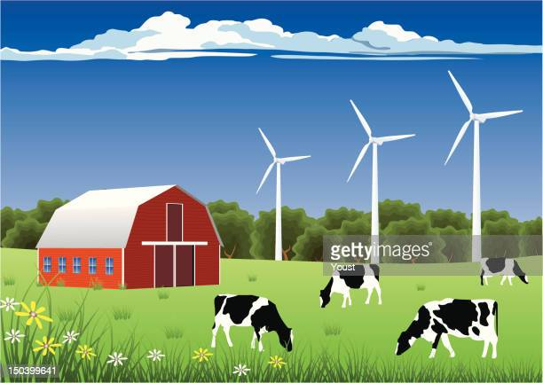 wind energy for farmers - ranch stock illustrations