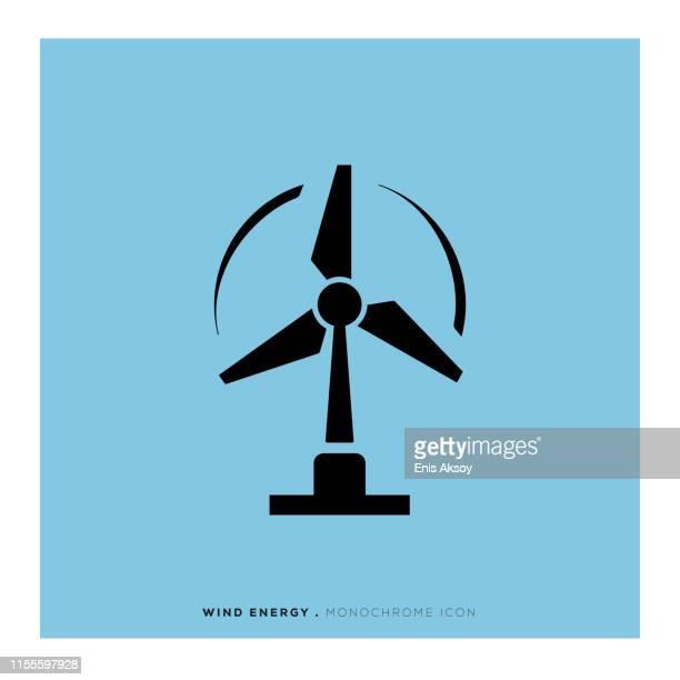 wind energy icon - turbine stock illustrations, clip art, cartoons, & icons