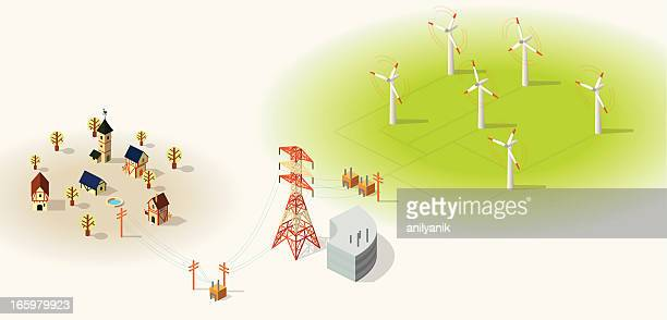 wind energy - steel cable stock illustrations