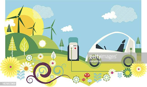 wind farm and electric car illustration - electric car stock illustrations, clip art, cartoons, & icons