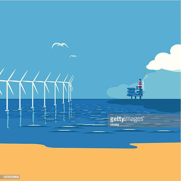 Wind farm vs. oil rig