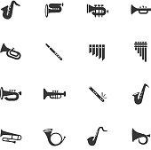 wind instruments icon set