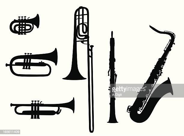 wind instruments vector silhouette - saxaphone stock illustrations, clip art, cartoons, & icons