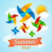 Wind Mill Hello Summer Concept Card. Vector