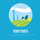 Wind power banner. Clean resources concept