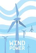 Wind power banner. Renewable resources concept.