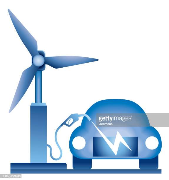 wind power electric vehicle charging - hybrid car stock illustrations, clip art, cartoons, & icons
