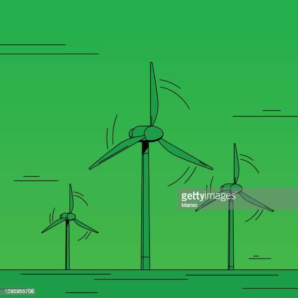 bildbanksillustrationer, clip art samt tecknat material och ikoner med vindkraftspark, tre höga vindkraftverk som genererar förnybar energi. - vindkraft
