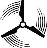 wind power plant propeller motion line symbol vector