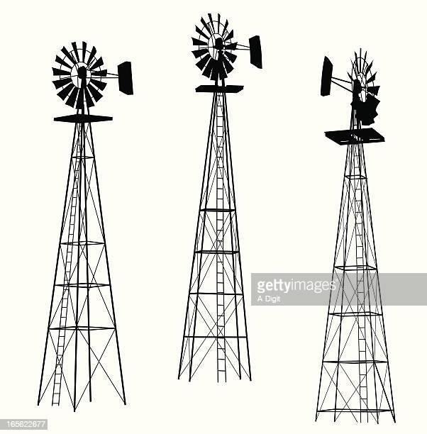 wind pump vector silhouette - american style windmill stock illustrations