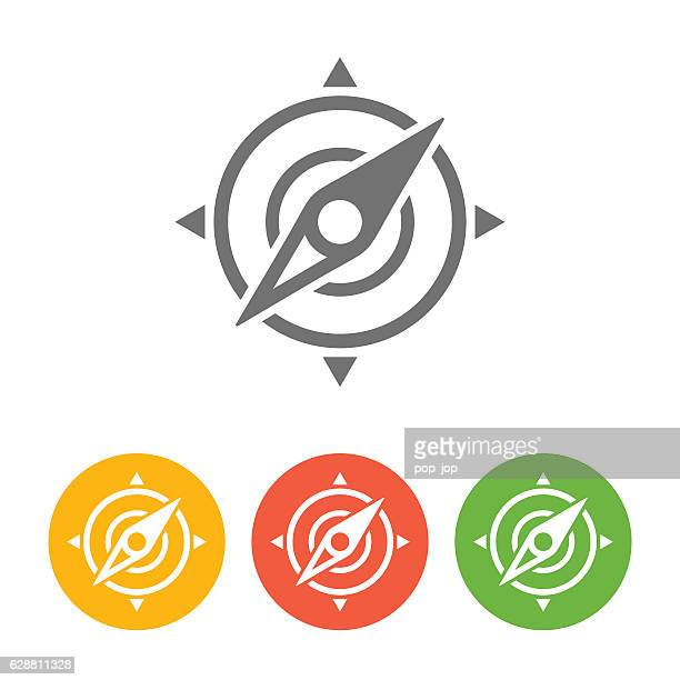 Wind Rose Compass Navigation Icon - Vector Illustration