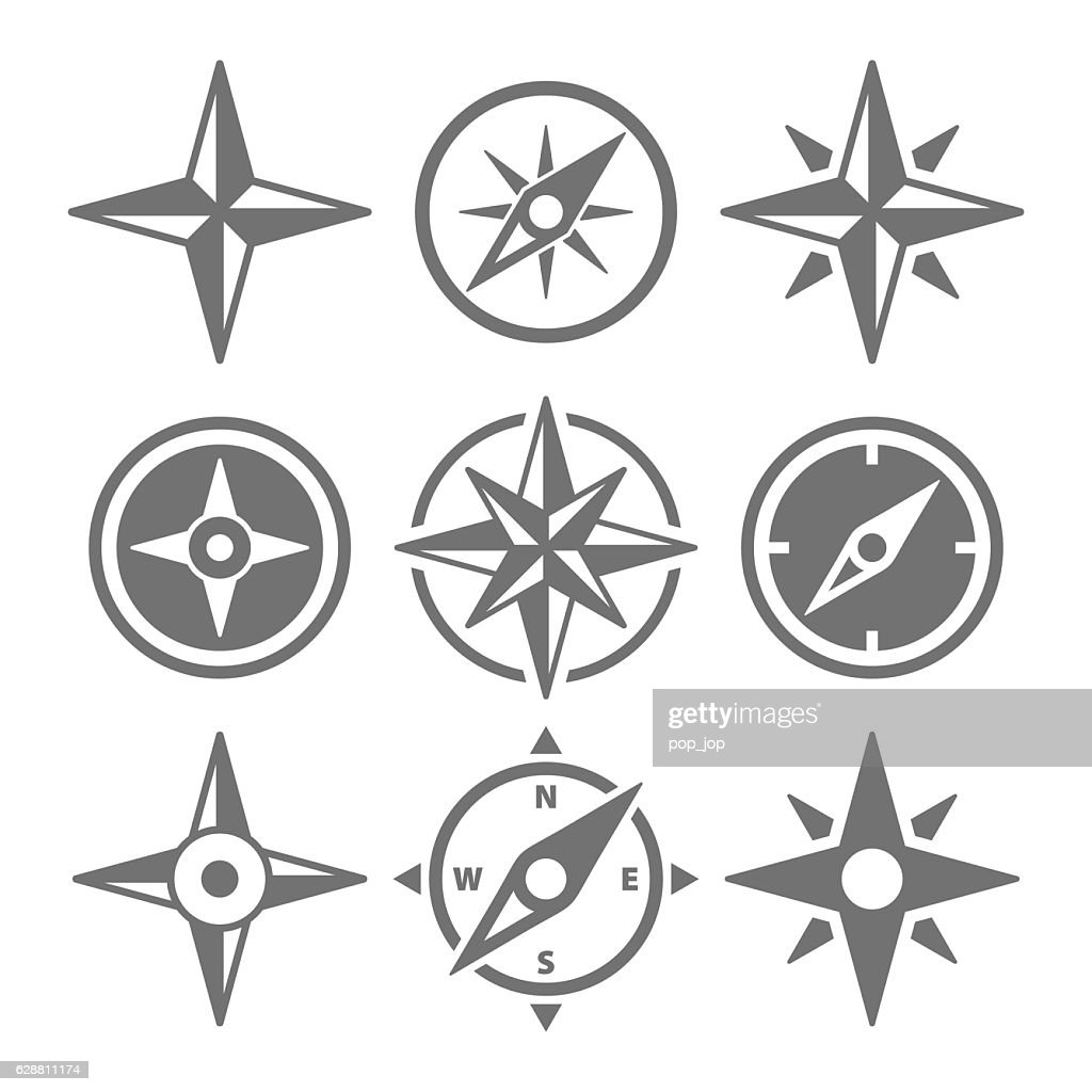 Wind Rose Compass Navigation Icons - Vector Illustration : stock illustration