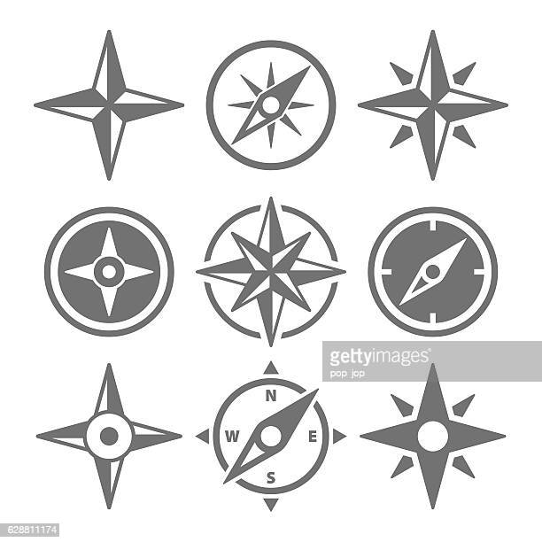 Wind Rose Compass Navigation Icons - Vector Illustration