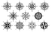 Wind rose. Marine wind roses, compass nautical navigation sailing symbols, geographic map antique vintage elements and tattoo vector icons