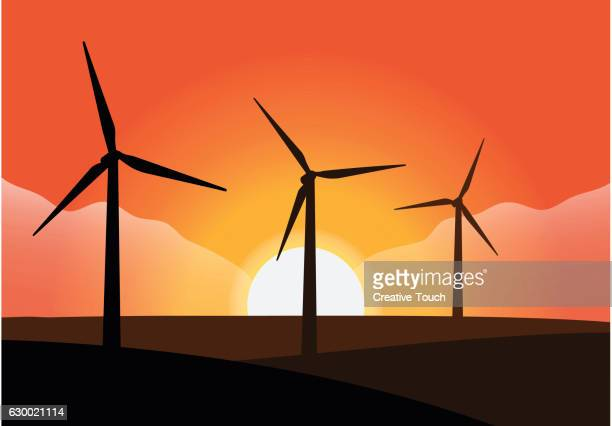 wind turbine and rig over sunset - {{relatedsearchurl('racing')}} stock illustrations, clip art, cartoons, & icons