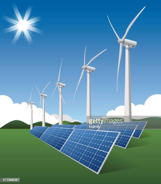 bildbanksillustrationer, clip art samt tecknat material och ikoner med wind turbine and solar - vindkraft