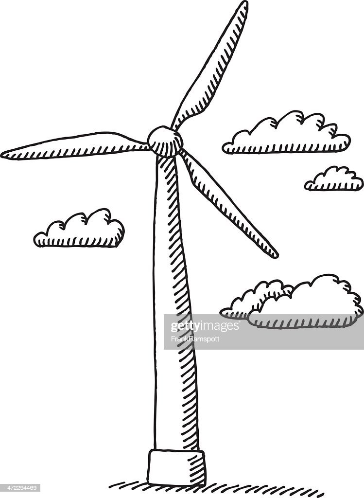 Line Drawing Windmill : Wind turbine clouds drawing vector art getty images