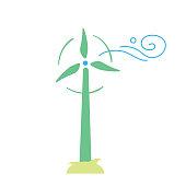 Wind turbine. Eco icon