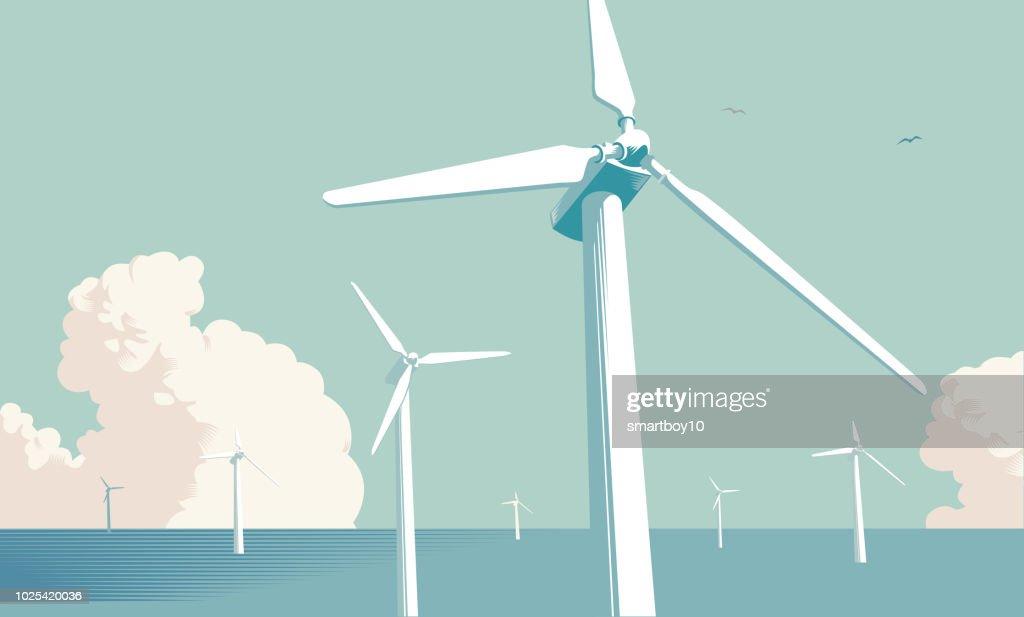 Turbinen vindkraftpark till havs : Illustrationer