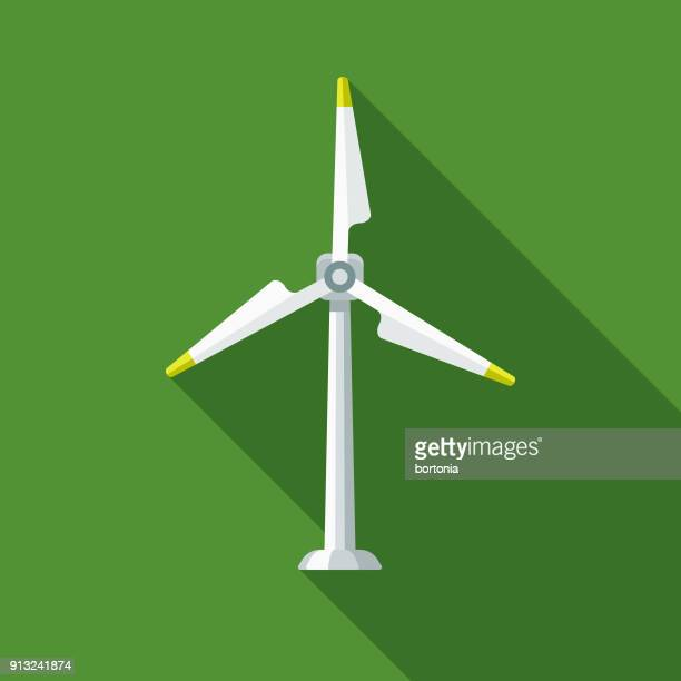 wind turbine flat design environmental icon - wind power stock illustrations