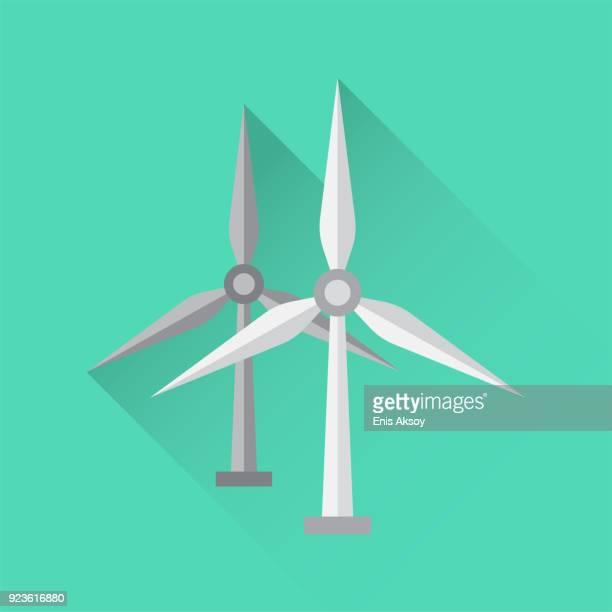 wind turbine flat icon - turbine stock illustrations, clip art, cartoons, & icons