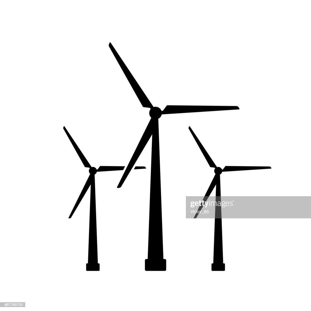 Windturbinesymbol Schwarz Minimalistischen Symbol Isoliert Auf