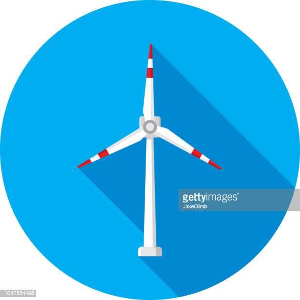 bildbanksillustrationer, clip art samt tecknat material och ikoner med wind turbine ikonen platta - vindkraftverk