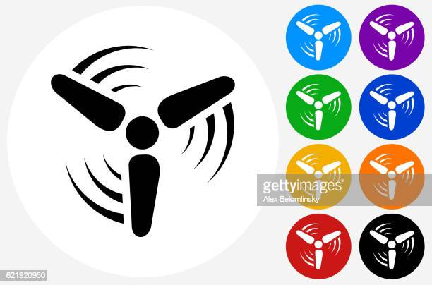 wind turbine icon on flat color circle buttons - electric fan stock illustrations, clip art, cartoons, & icons