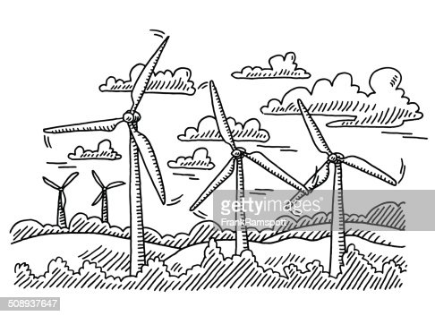 Wind Turbine Landscape Drawing Stock Vector Getty Images