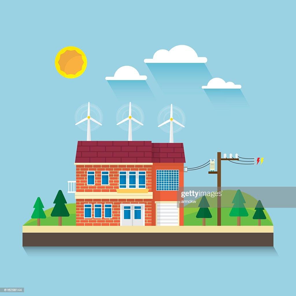 wind turbine on roof : Vector Art