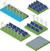Wind turbine power. Isometric clean energy concept.