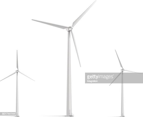 wind turbine set - wind power stock illustrations