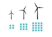 Wind turbine size and output to amount of houses