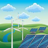 wind turbine solar panel alternative energy source river nature