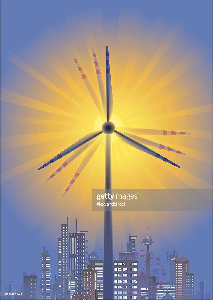 Wind Turbine, Sun and City Skyline in Twilight : Vector Art
