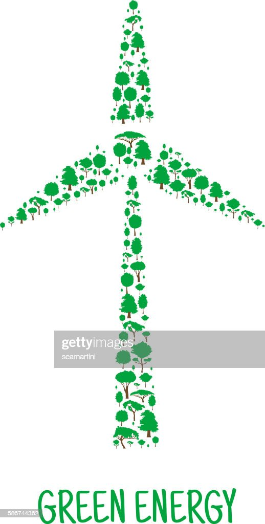 Wind Turbine Symbol Made Up Of Green Trees Vector Art Getty Images