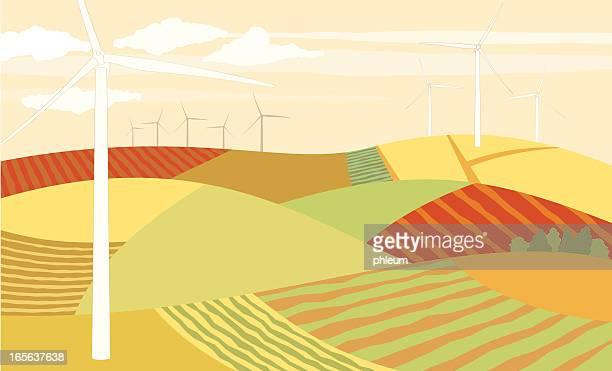 wind turbines in farmland illustration - rolling landscape stock illustrations