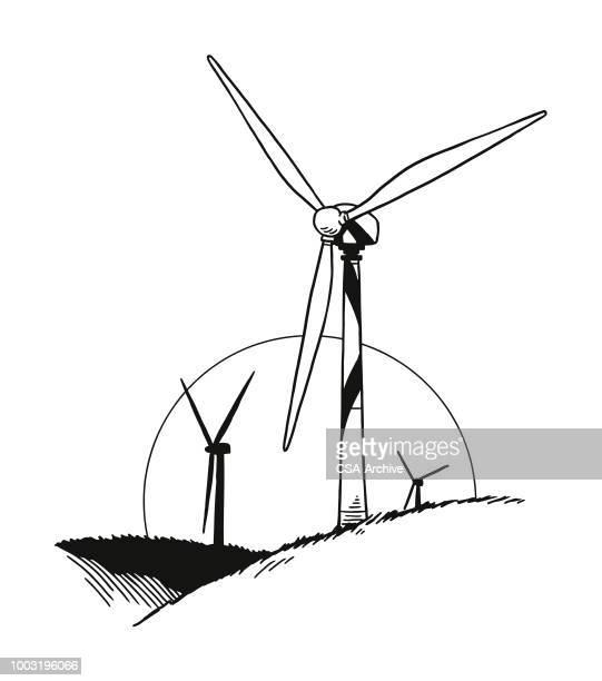 ilustraciones, imágenes clip art, dibujos animados e iconos de stock de turbinas eólicas - molino de viento