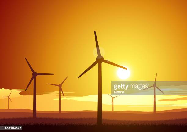 bildbanksillustrationer, clip art samt tecknat material och ikoner med vindkraftverk - vindkraft
