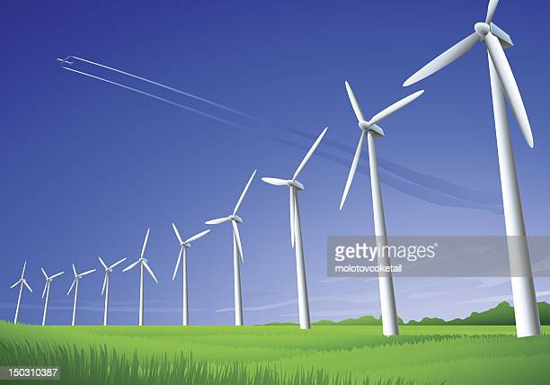 wind turbines - wind power stock illustrations, clip art, cartoons, & icons