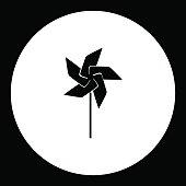 wind vane little windmill simple black isolated icon eps10