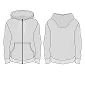 windbreaker with patch pockets in gray Tanakh with hood