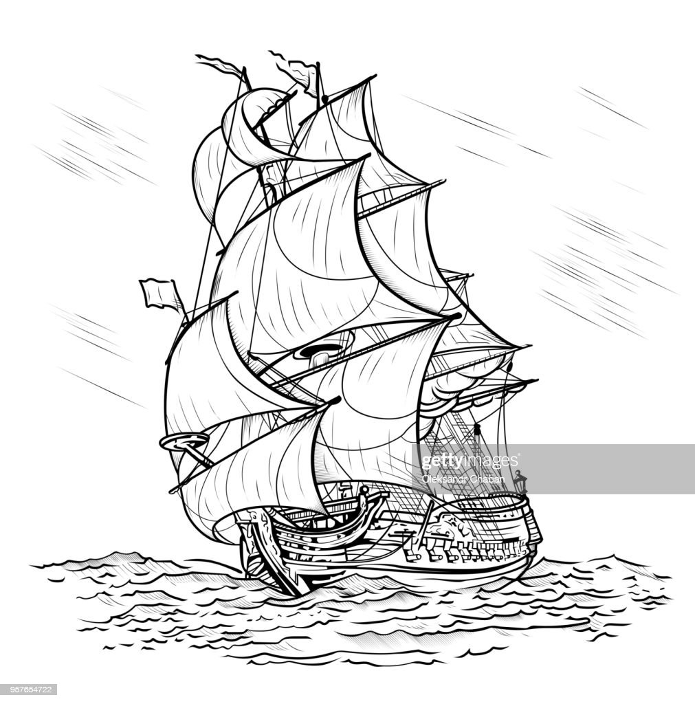 Wind-driven ship on a white background