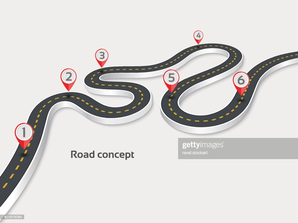 Winding 3d road infographic concept on a white background. Timel