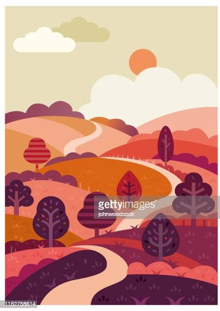 winding road and countryside illustration - hill stock illustrations