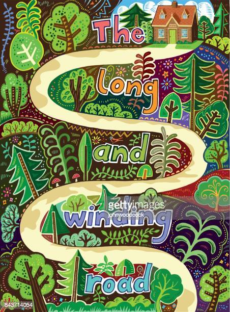 Winding road drawn illustration