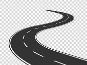 Winding road. Journey traffic curved highway. Road to horizon in perspective. Winding asphalt empty line isolated concept