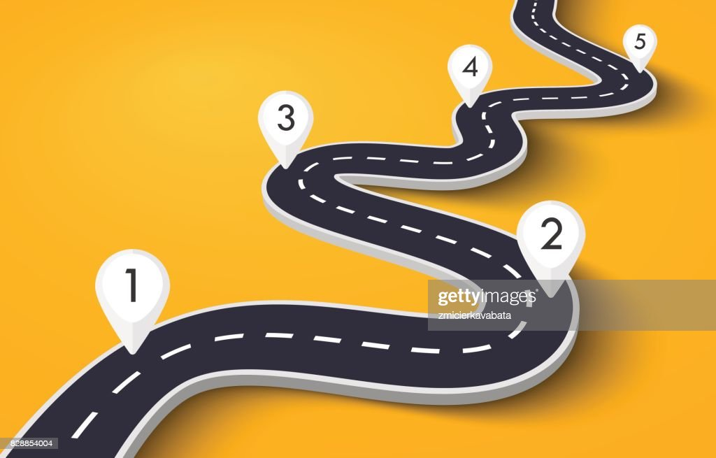 Winding Road on a Colorful Background with Pin Pointers