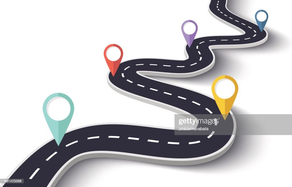 Winding Road on a White Isolated Background with Pin Pointers
