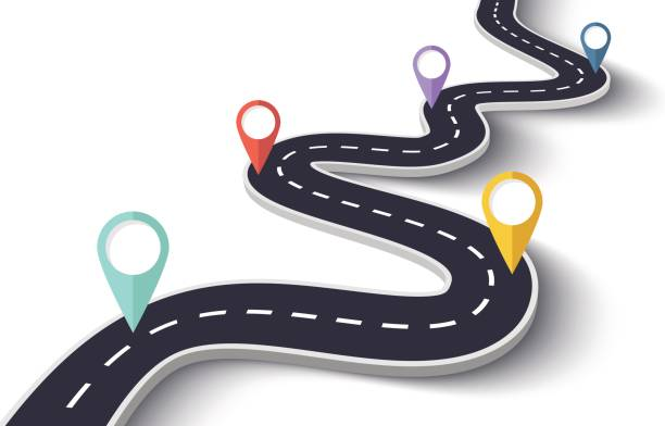 push pins on a road map winding road on a white isolated background with pin pointers